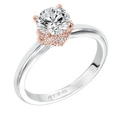 Artcarved Clarice Diamond Engagement Ring in 14kt White and Rose Gold · 31-V584CCW · Ben Garelick Jewelers
