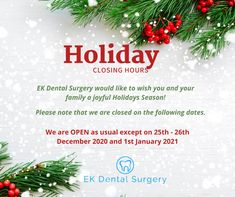 Happy Holidays from our Glen Waverley dental team! We are grateful for your support throughout the past year, and we hope to see you in 2021. Check out our special opening dates during the holiday season. 25 December Christmas Day, Dental Images, Dental Aesthetics, Dental Surgeon, Dental Emergency, Port Macquarie, Dental Center, Grateful For You, New Day