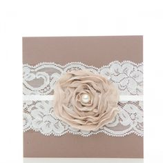 Lace wedding invitation with flower