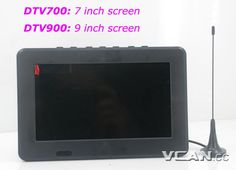 DTV700, 7 inch Digital TV, Analog TV, USB TF MP5 player, AUX AV in, Rechargeable Battery, Remote Control, Antenna