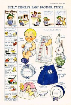 Dolly Dingle's Baby Brother Dickie- by Grace G. Drayton- Dolly Dingle Paper Dolls