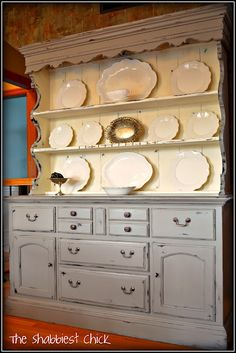 French Linen and Old White - Love this hutch by Chrystal, The Shabbiest Chick!