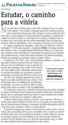 Editorial da Folha da Regiao destacando o Prof. Walderício de Mello, aposentado pela FOA/UNESP. Fonte: Folha da Região