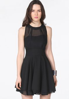 Black Contrast Mesh Yoke Backless Pleated Dress 15.00