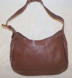 Nuovedive Italy Genuine Leather Hobo Shoulder Bag  Brown  Adjustable Strap #Nuovedive #Hobo