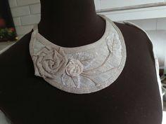linen necklace with linen flowers handmade linen hit Crochet Necklace, Lens, Flowers, Handmade, Jewelry, Fashion, Moda, Hand Made, Jewlery