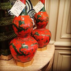 """""""New @ 22: A Pair of #handpainted #orange and #green jars, now mounted as lamps on #gilt bases // #interiordesign #decoration #lighting #lampshades #newportri #rhodeisland"""" Photo taken by @newportlampandshadecompany on Instagram, pinned via the InstaPin iOS App! http://www.instapinapp.com (06/02/2015)"""