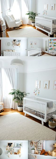White Neutral Nursery. Minimalist nursery. Gender neutral nursery.