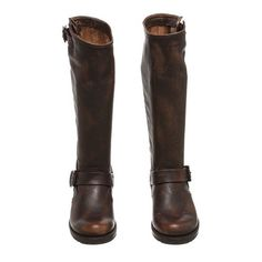 Pre-Owned Frye Brown Distressed Leather Veronica Tall Boots ($250) ❤ liked on Polyvore featuring shoes, boots, brown, tall boots, frye, knee high heel boots, brown knee high boots and high heel boots