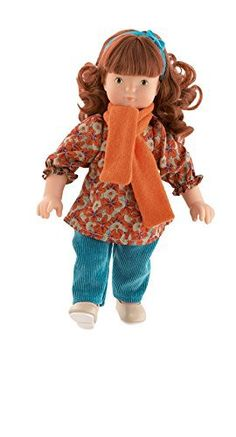 Louise, #poupée habillée d'un ensemble qui se compose d'une tunique en coton imprimé, un pantalon en velours côtelé turquoise, une paire de chaussures assortie ainsi qu'une écharpe en mohair abricot. #poupéerousselouise #poupéerousse #louise
