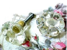 Vintage crystal glass flower shaped dresser or cabinet drawer pulls and replacement knobs