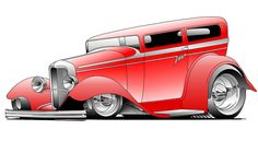 Hot Rod Cartoons | Red Rod Digital Art
