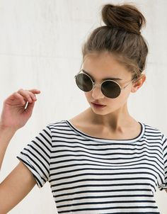 Runde Sonnenbrille spiegelnd - Accessoires - Bershka Germany