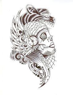 Sugar skull tattoo... loving the animal features this is pretty cool!
