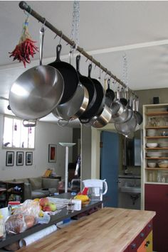 rod for hanging pots and pans goes between column and wall …