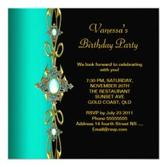 Birthday Party Damask Teal Green Blue Gold Black Personalized Invite