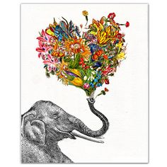 The Happy Elephant - print, Mixed media Decorative art, Animal painting, drawing, illustration, portrait, POSTER 8x10