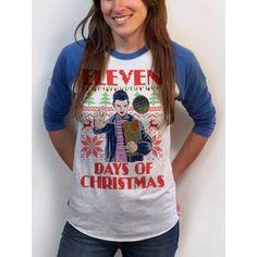 Christmas Baseball Tee Stranger Things Shirt Womens Sweater Design 3/4 Sleeve Raglan Sm Med