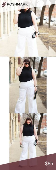 """TOMMY HILFIGER BLAZER WHITE SAILOR PANT Tommy Hilfiger sailor wide leg pants very chic pair with black turtleneck. Waist 36"""" Inseam 32 """" Hip 46"""" NEW WITH TAG. Tommy Hilfiger Pants Wide Leg"""