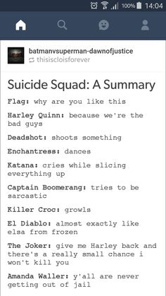 ~Hey Gorgeous~ Suicide squad a summary Batman Universe, Dc Universe, Emo Quotes, Qoutes, Suicde Squad, Harley And Joker Love, Harely Quinn, Deadshot, Hey Gorgeous