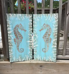 Seahorse Kissing 2 panel Canvas Wall Art Beach by justbeachyshop