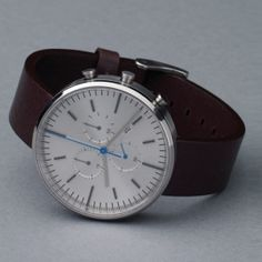 300 Series by Uniform Wares - satin brushed case/mahogany brown strap