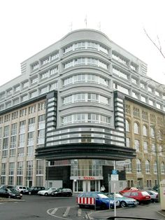 "The ""Rudolf Mosse Publishing House"" altered by Erich Mendelsohn in 1923. Jerusalemer St., Berlin. Example of Expressionist architecture a German variation of Art Deco style."