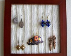 Jewelry Organizer, Earring Holder, Upcycled Wooden Frame with Ribbed Knit Sweater, Earring Display, Decorative Picture Frame
