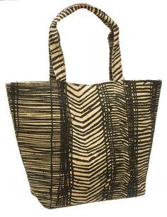 Tribal Print Beach Woven Toyo Straw Tote Bag-Boardwalk Style