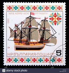"buque Inglés ""Jesús de Lubeck"" (siglo 16), sello postal, Bulgaria, 1977 Foto de archivo"