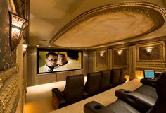Home theaters design Wow. this Italian gold home theater is luxury focused, from the lush seating to the massive screen. At Home Movie Theater, Home Theater Rooms, Home Theater Design, Cinema Room, Home Theaters, Home Theater Screens, Home Movies, Entertainment Room, Luxury Interior Design