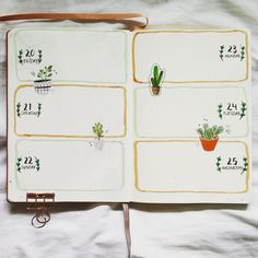 @bujo.by.marieke Bullet journal weekly layout weekly spread flowers cacti floral stickers