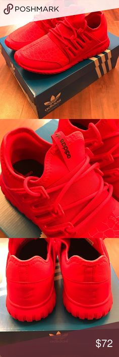 Adidas Tubular Radial Shoes ALL RED, brand NEW. Adidas Tubular Radial Youth size 7, fits an 8.5 in women's. They come with the box and are in perfect condition. They're perfect for active use, but also can be worn with everyday looks. Super cute and comfortable. Make an offer Adidas Shoes Athletic Shoes