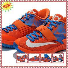 the latest 382e5 1fe0d KD009415 Orange Sky Blue White Nike KD 7(VII) Mens On Sale