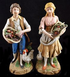 Vintage Boy & Girl with Fruit Bisque Porcelain Figurines #1401 by HOMCO U12 in Collectibles, Decorative Collectibles, Decorative Collectible Brands   eBay