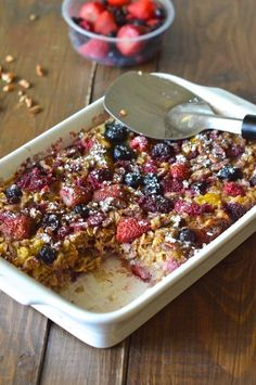 Healthy Baked Berry Oatmeal. This recipe is super filling and perfectly sweet!