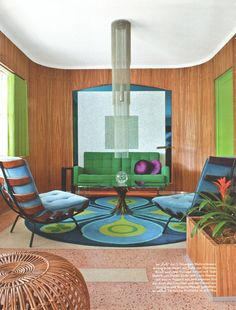Doug Meyer - Miami interior. Photo Mark Roskams ( Retro living room / mod meets mid century interior design )
