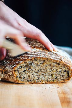 Multigrain Seeded Bread / Soaker: 60 g toasted white sesame seeds 60 g black sesame seeds 60 g quinoa 60 g flax seeds 60 g rolled oats 60 g steel cut oats 60 g sunflower seeds 60 g pumpkin seeds 500 g water / Dough: 750 g all-purpose flour 50 g dark rye flour 200 g whole wheat flour 700 g water, 90 to 95 F/ 32 to 35 C 22 g fine sea salt 0.8 g instant dried yeast