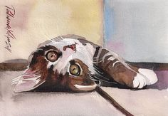 Print of the Original Watercolor Painting Tabby Cat Kitty Kitten Grey Brown…