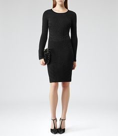 Womens Black Textured Bodycon Dress - Reiss Ewelina