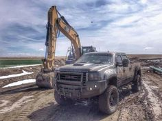 Muddy Lifted GMC Truck. www.CustomTruckPartsInc.com is one of the largest Truck accessories retailer in Western Canada #CustomTruckParts #pickups #pickuptruck
