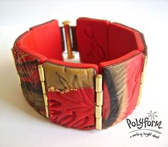 Premo! Polymer Clay Rectangular Bead Hinged Cuff Bracelet Project - I can envision lots of ways to adapt this embedded metal hinges and clasp technique into other polymer clay designs!
