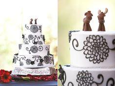 Shabby Chic Black  White Multi-shape Round Wedding Cake