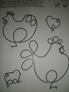 easter chicks continuous line Free Motion Quilting, Hand Quilting, Machine Quilting, Simple Line Drawings, Easy Drawings, Farm Animal Crafts, Sharpie Art, Hens And Chicks, Quilt Stitching
