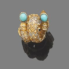A turquoise dress ring, by Lalaounis