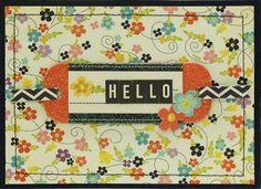 """Hello"" card by Celeste Brodnik, Design Team member.  I love all the detail! Check it out on our blog -http://scrapbookstudio.typepad.com/cordscrapbookstudio/#"