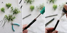 ★ダイソーの造花を鉛筆にアレンジ! A: 造花の茎を5~8mm程度残してニッパーでカットする。  B:  鉛筆の後ろの芯の部分をキリで穴をあける。  C: キリであけた穴に接着剤を入れて造花を入れる。