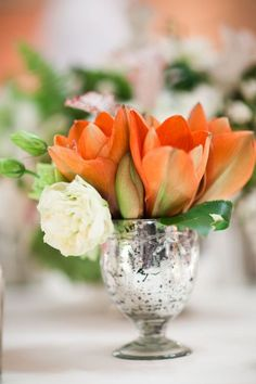 I'm liking these orange tulips for the tables -- what do you think?