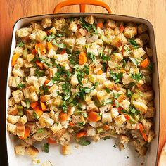 This old-fashioned recipe combines all the essentials: warm veggies, chicken broth, fresh parsley, and dried bread cubes. Use whole grain bread for a healthier spin on this great side dish.