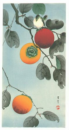 Ватанабэ Сётэй. Птица на хурмовом дереве